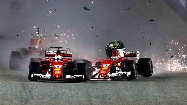 Vettel crashes out from pole amid chaotic start in Singapore