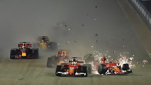 Alles aus nach einer Runde: Vettel-K.o. in Singapur beschert Hamilton den Sieg
