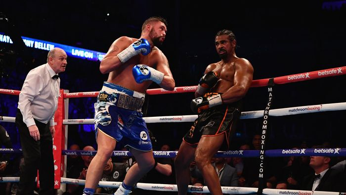 David Haye (black trunks) and Tony Bellew (blue trunks) in action during their Heavyweight contest at The O2 Arena on March 4