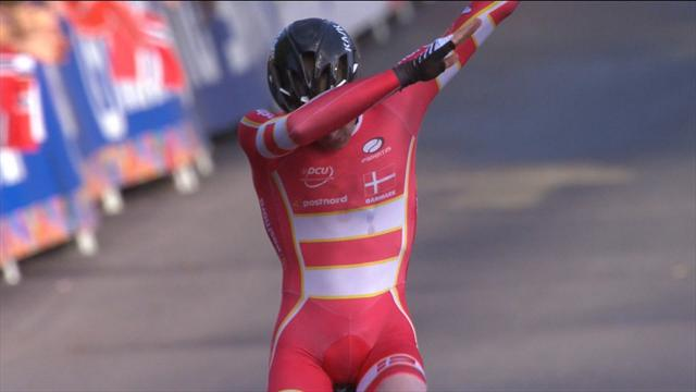 Johansen wins the junior men's Road Race... and dabs in celebration