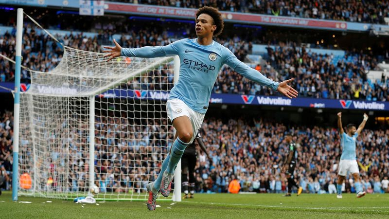Manchester City's Leroy Sane celebrates scoring their first goal