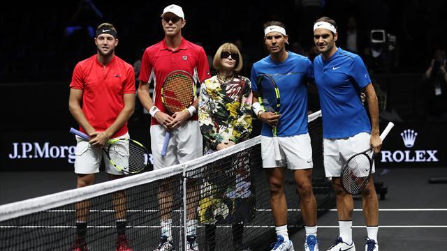 Nadal et Federer ont posé pour la postérité et Anna Wintour s'est glissée sur la photo