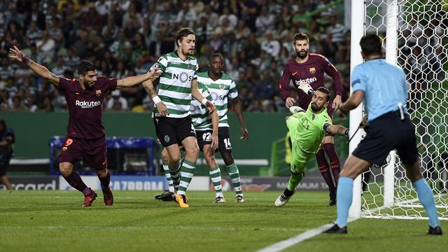 El Barcelona vence por la mínima al Sporting Portugal (0-1) y se afianza como líder