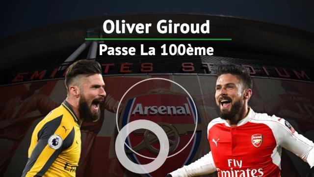 Giroud a inscrit cent buts avec Arsenal