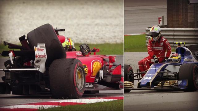 """Vettel a fini sur trois roues et est rentré """"en stop"""""""