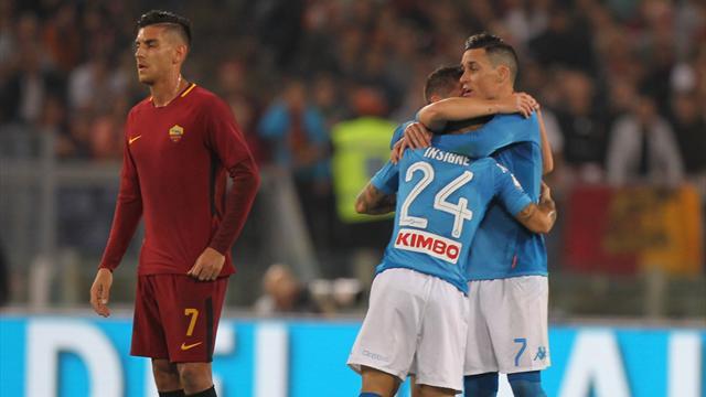 Napoli-Roma 2-4: Dzeko doppietta, Under e Perotti in gol. Sarri, crollo clamoroso