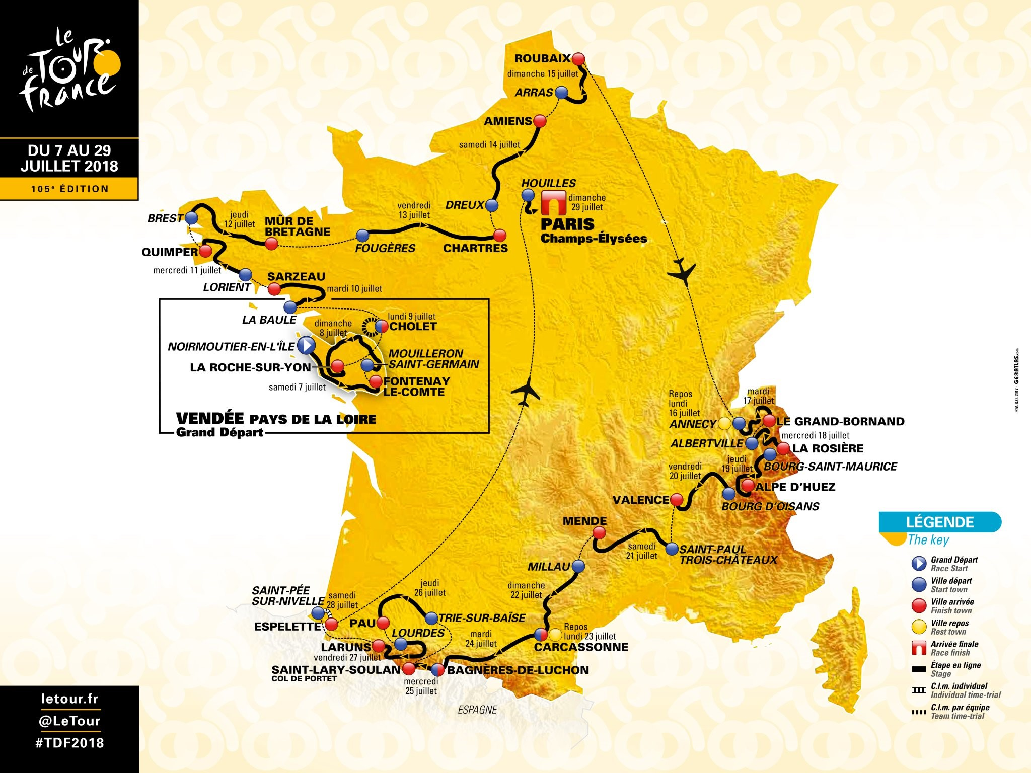 La carte du Tour de France 2018