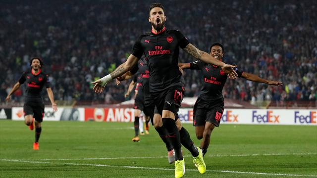 Giroud stunner helps Arsenal snatch victory in Belgrade