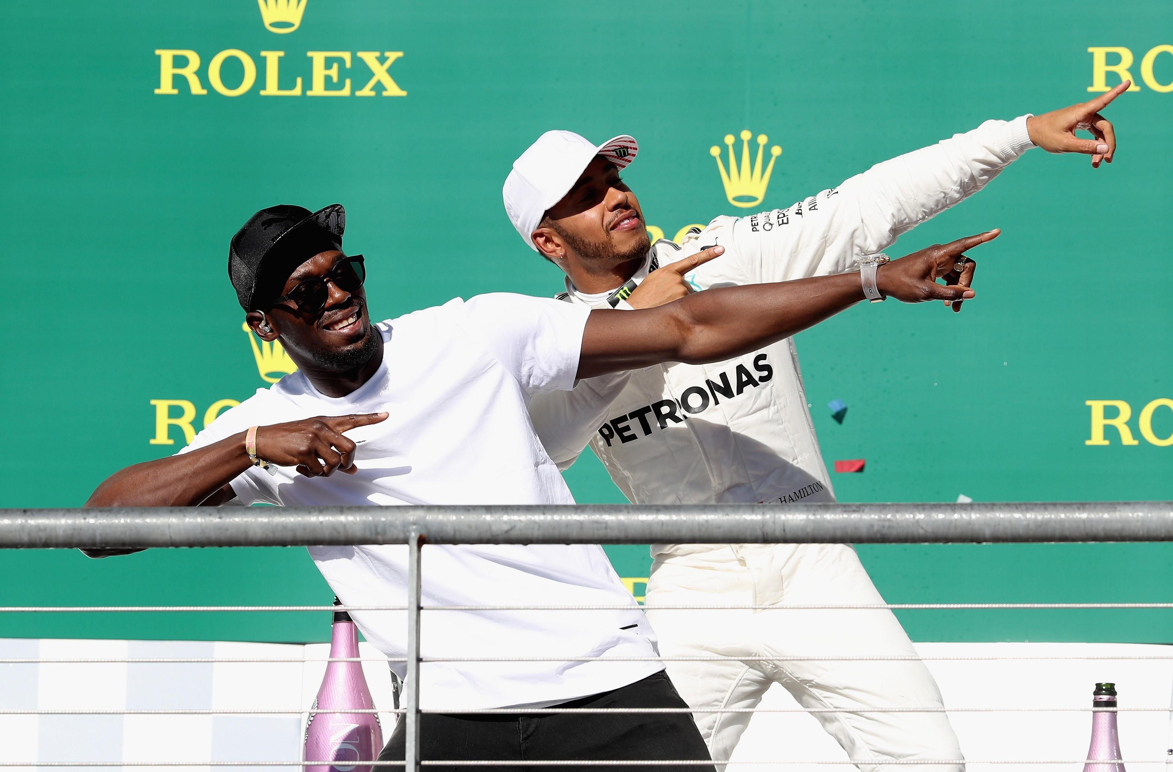 Usain Bolt, Lewis Hamilton (Mercedes) au Grand Prix des Etats-Unis d'Amérique 2017