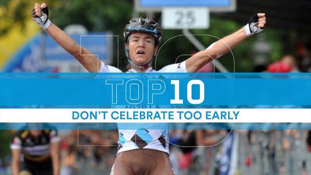 Äh, war nicht noch eine Runde zu fahren? 10 peinliche Jubel-Fails im Radsport