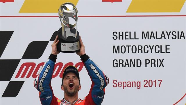 Motogp, GP Malesia: vince Andrea Dovizioso, Marquez 4°. Il Mondiale resta aperto