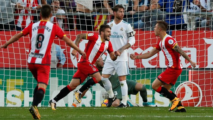 Image result for Girona 2-1 Real Madrid: Stuani and Portu goals sink champions