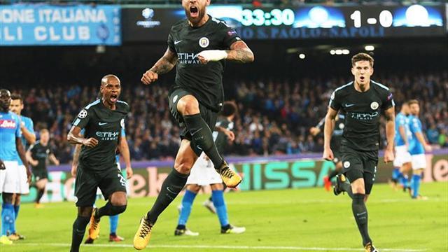 2-4. El City gana en Nápoles con gol histórico de Agüero y ya está en octavos