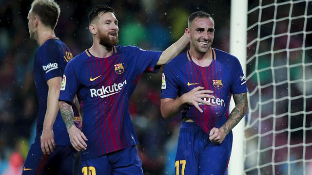 Alcacer strikes twice to sink Sevilla as Messi brings up 600th Barca match