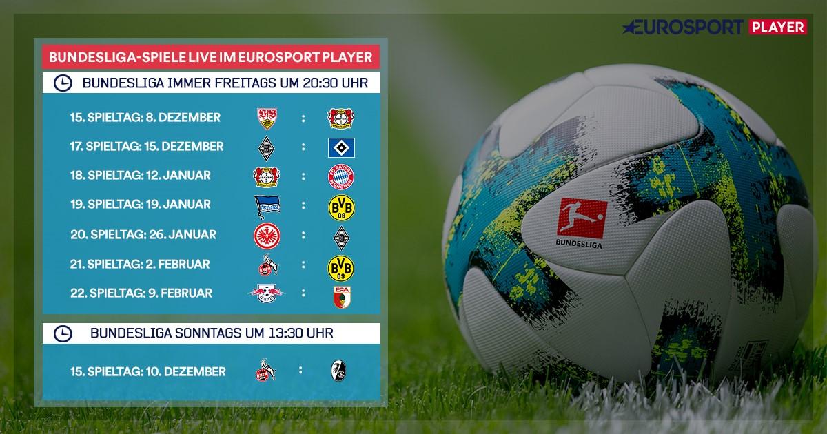 Bundesliga-Livespiele 15. bis 22. Spieltag bei Eurosport