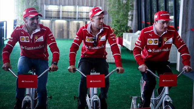 "Los pilotos de Ferrari ""compiten"" en bicicleta antes del Gran Premio de Brasil"