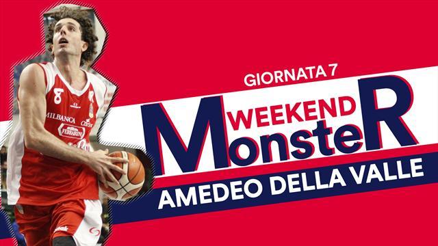 Monster weekend: Amedeo Dalla Valle, con 18 punti trascina Reggio Emilia alla prima vittoria