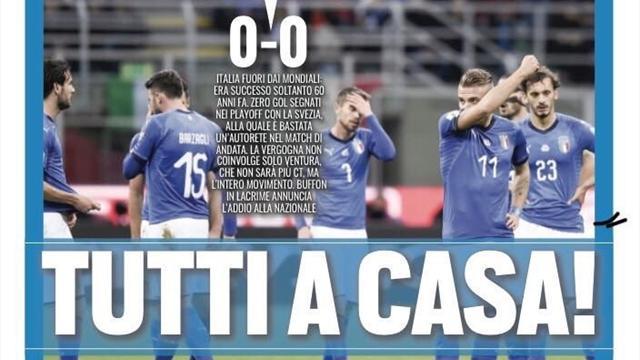 Dünya Kupası'na katılamayan İtalya'da basın öfkeli