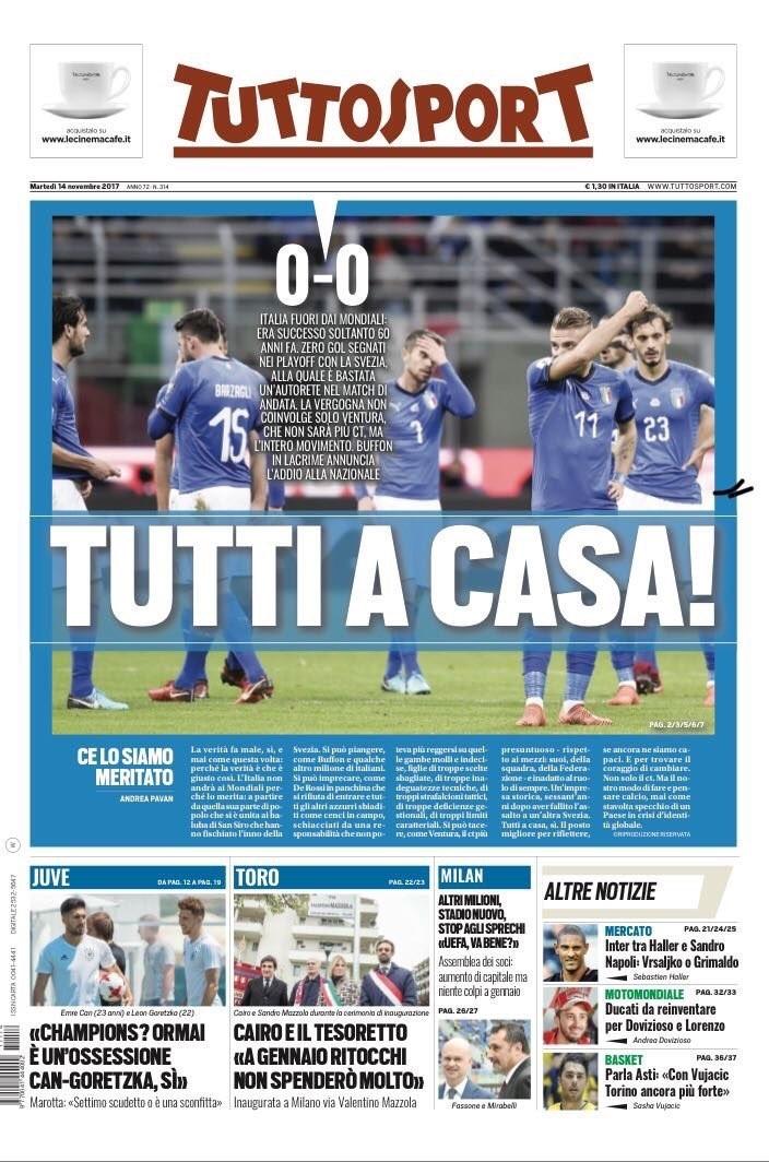 """Pressestimmen: Das Titelblatt der """"Tuttosport"""""""