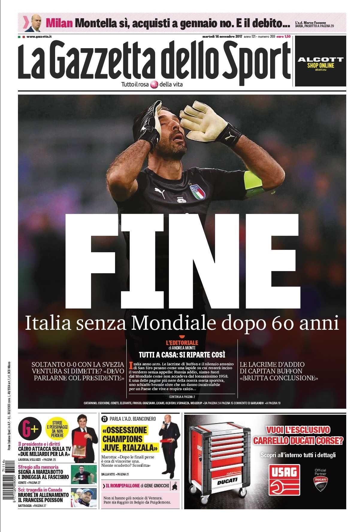 """Pressestimmen: Das Titelblatt der """"Gazzetta dello Sport"""""""