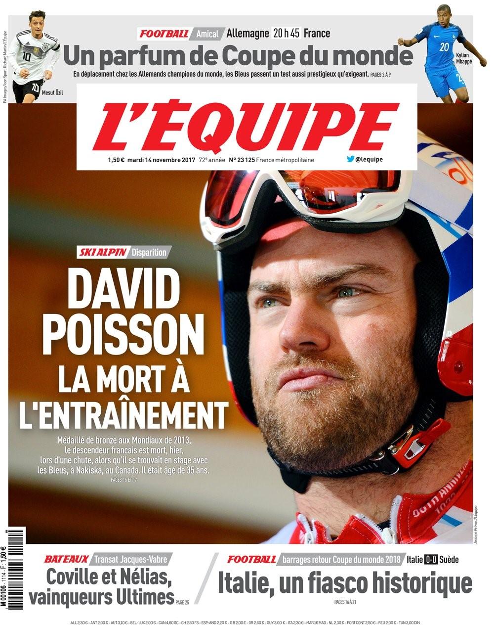 Hommage der L'Equipe an David Poisson nach Tod bei Trainingssturz