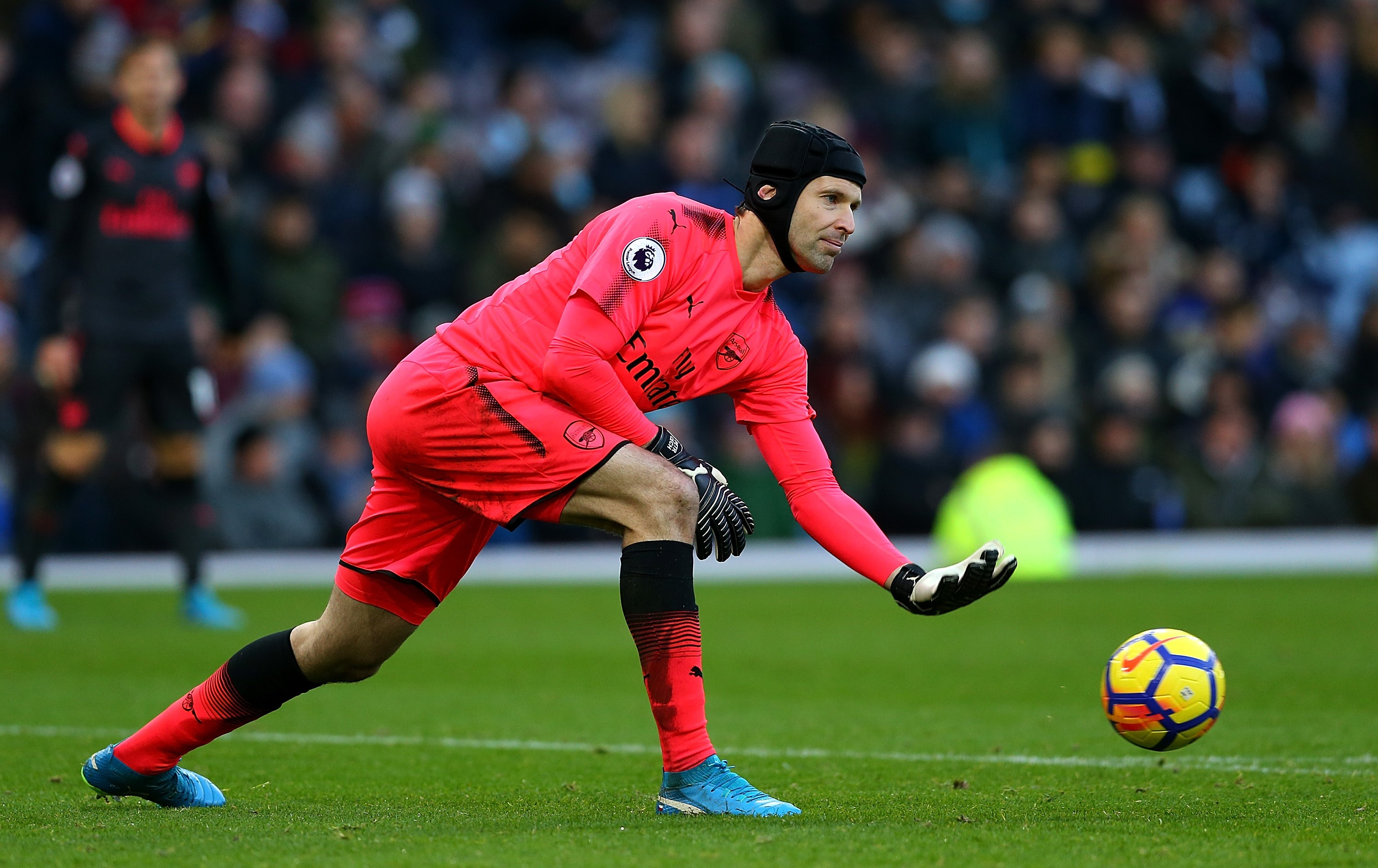 Petr Cech of Arsenal in action during the Premier League match between Burnley and Arsenal at Turf Moor on November 26, 2017 in Burnley, England.