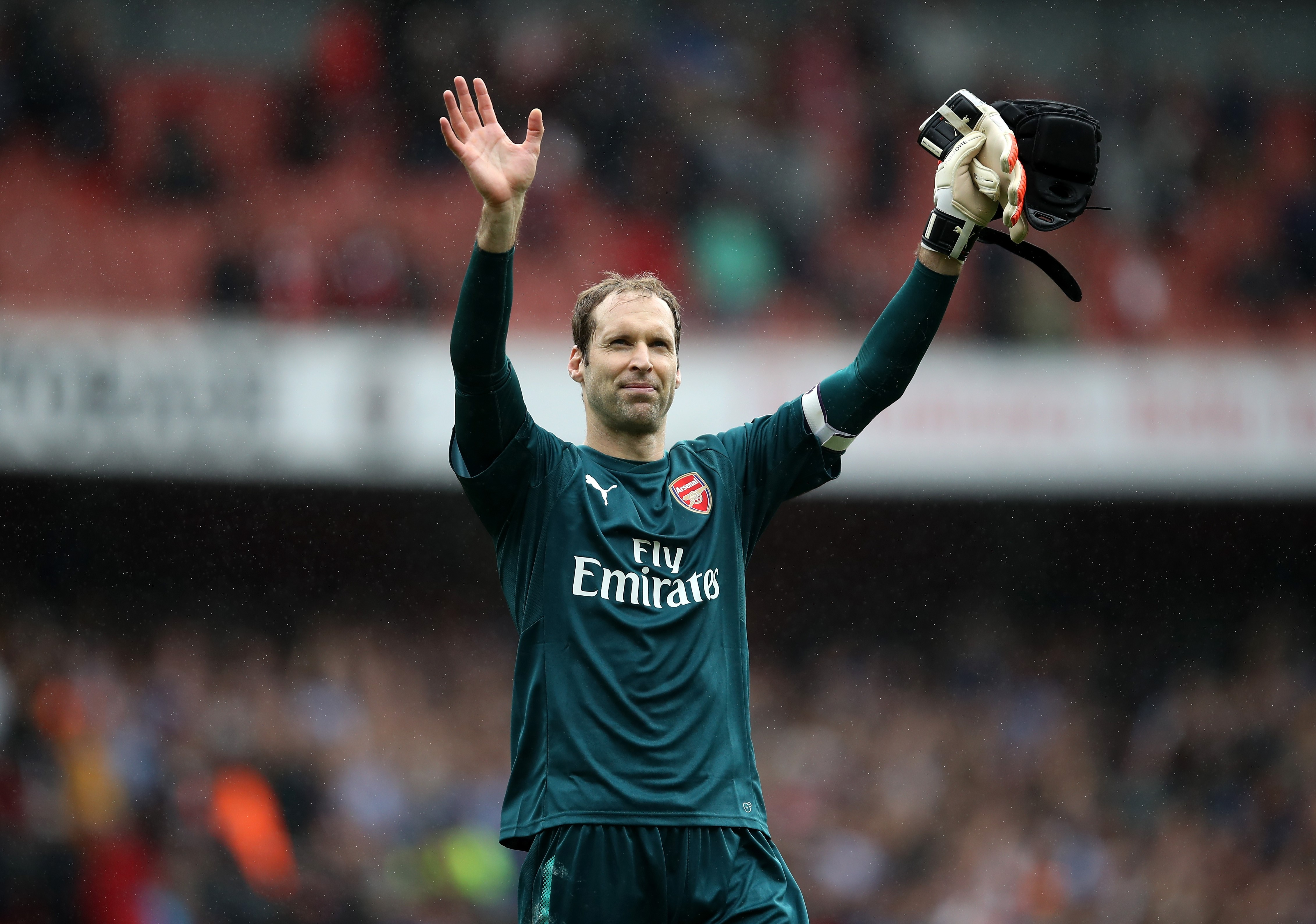 Petr Cech of Arsenal shows appreciation to the fans after the Premier League match between Arsenal and Brighton and Hove Albion at Emirates Stadium on October 1, 2017 in London, England.