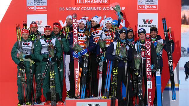 La France troisième du combiné nordique par équipes — Lillehammer