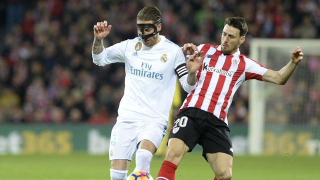 Real Madrid held to goalless draw in Bilbao after Ramos is sent off