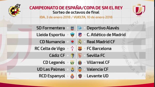 Celta-Barcelona, Numancia-Real Madrid y Lleida-Atlético, en octavos de Copa