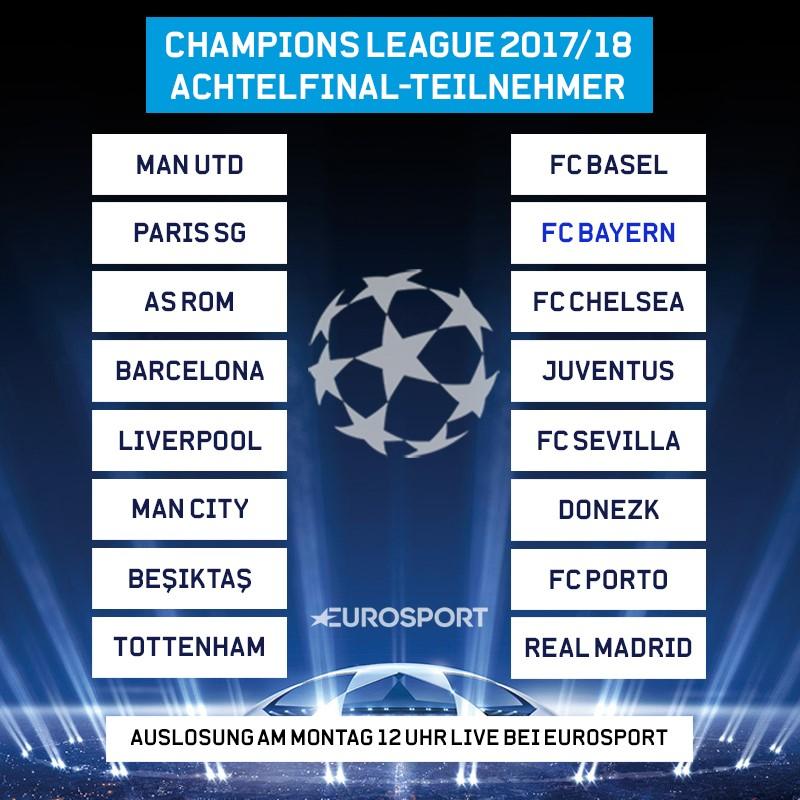 Achtelfinal-Teilnehmer der Champions League 2017/18