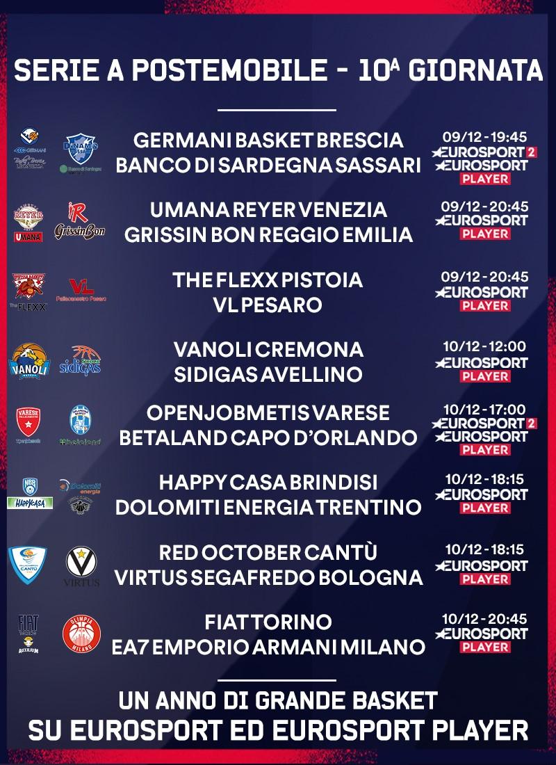 Legabasket Serie A - programma giornata 10