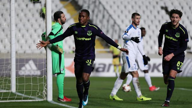 Lookman's double helps Everton get off the mark in Europe