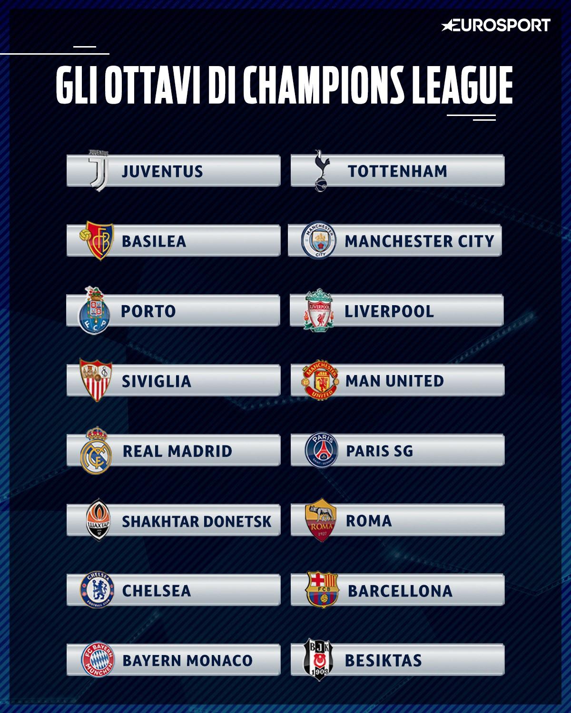 Calendario Champions Ottavi.La Juventus Pesca Il Tottenham Per La Roma C E Lo Shakhtar