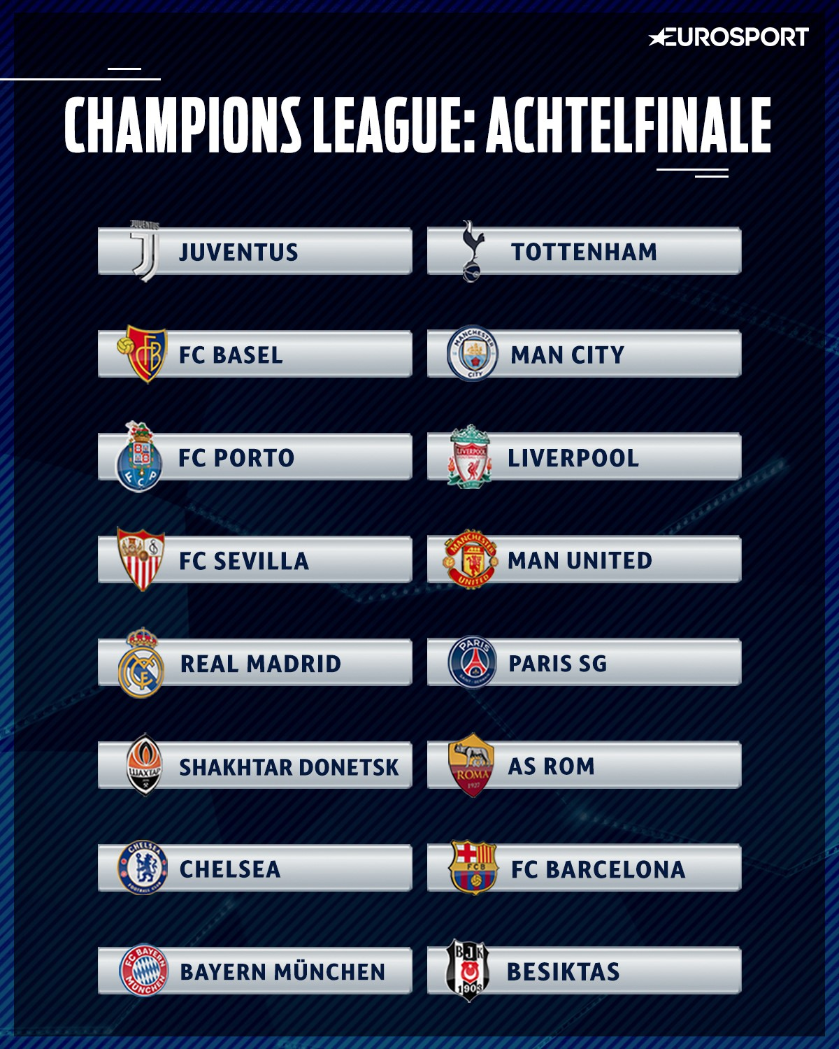 Champions League 2020 Achtelfinale
