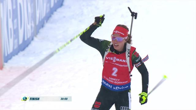 Dahlmeier sprints to 10km pursuit victory in Annecy