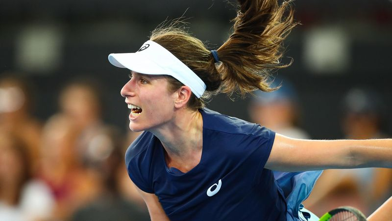 Johanna Konta of Britain serves against Madison Keys of the US during their first round women's singles match at the Brisbane International tennis tournament at the Pat Rafter Arena in Brisbane on January 1, 2018.