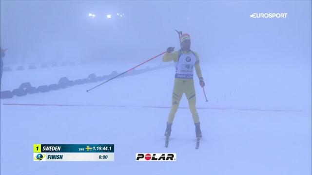Лучшие моменты мужской эстафеты в Оберхофе, где биатлонисты бежали в тумане, как ежики