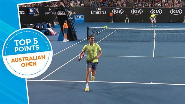 La top 5 dei colpi del Day 2: Djokovic in versione muro di gomma, ma la numero 1 è di Thiem