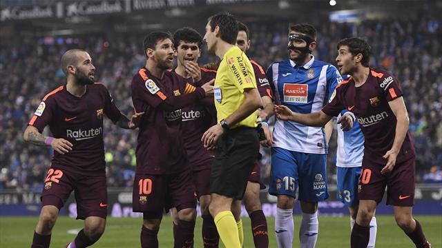 Rigore sbagliato da Messi, si rivede Rafinha e il Barcellona perde il derby: 1-0 Espanyol
