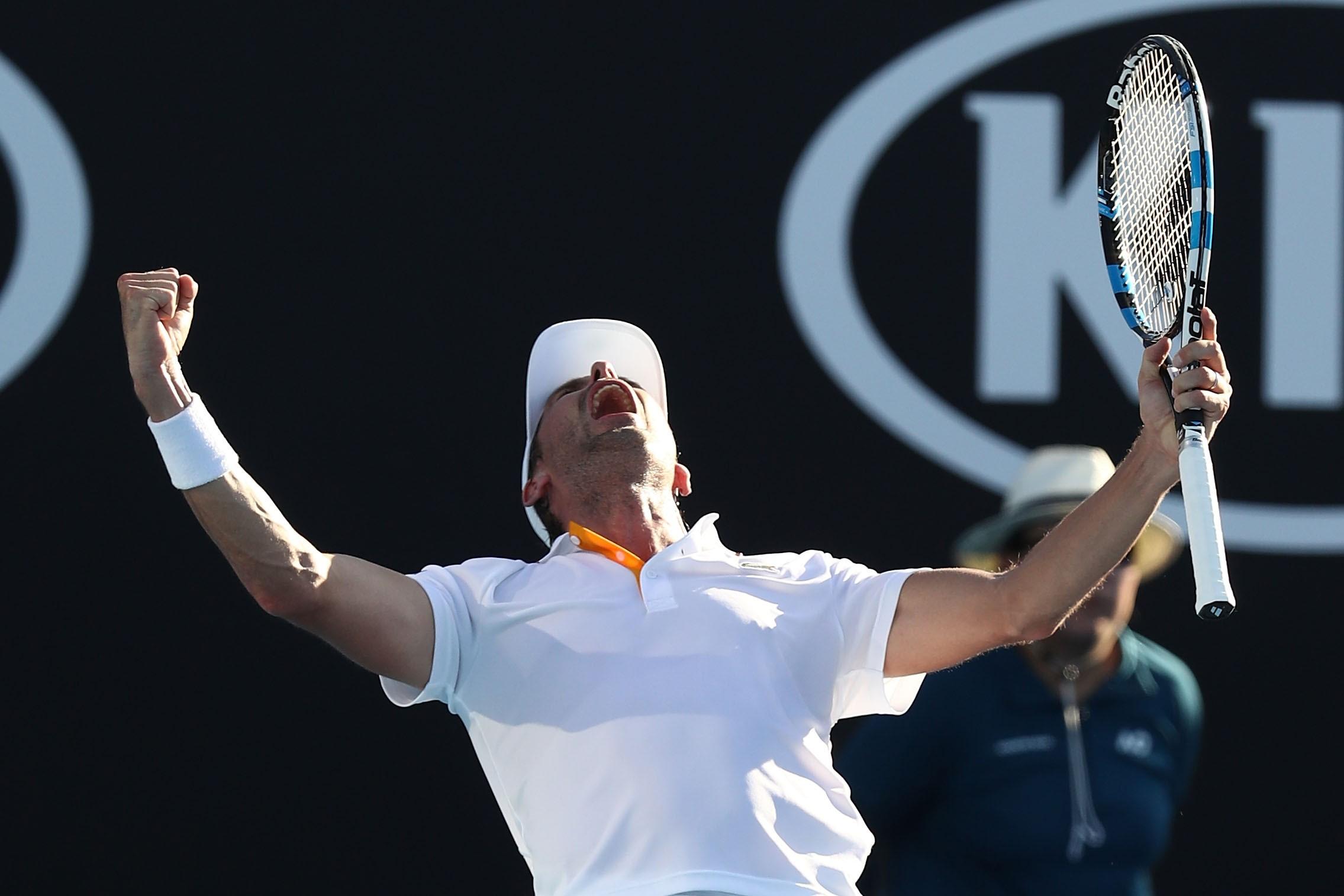 Julien Benneteau après sa victoire sur David Goffin au 2e tour de l'Open d'Australie 2018