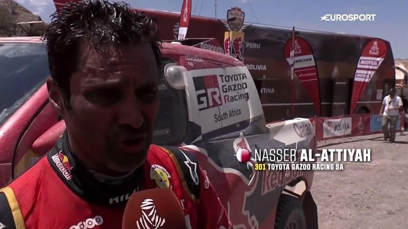 video mit zwei platten reifen ins ziel nasser al attiyah erk mpft bestzeit im toyota dakar. Black Bedroom Furniture Sets. Home Design Ideas