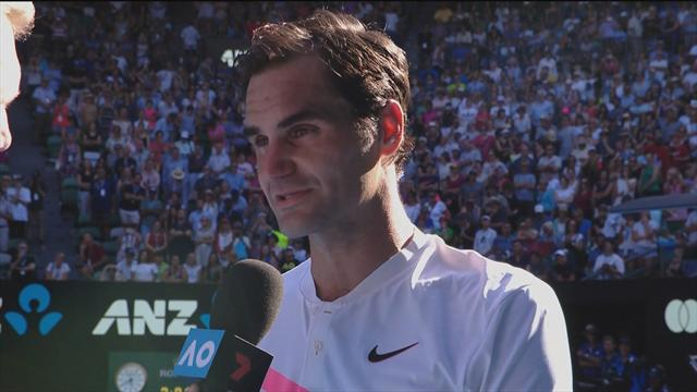 Federer's on-court interview in Melbourne