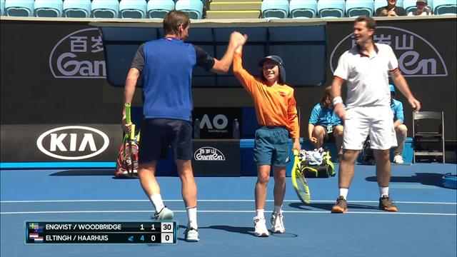 Ballkid gets into doubles match, crunches some serious volleys