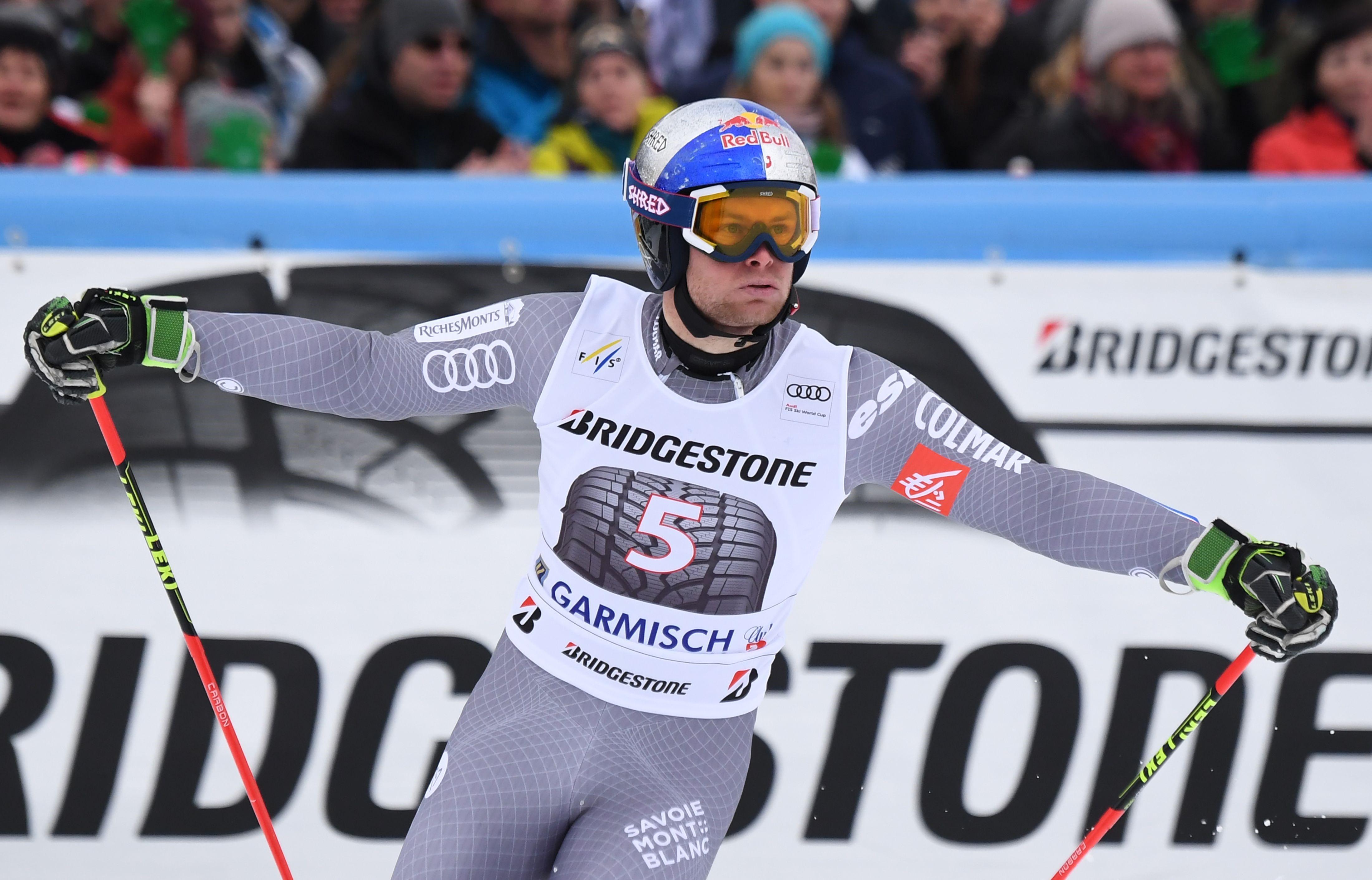 Alexis Pinturault est déçu après sa 9e place au géant de Garmisch-Partenkirchen, le 28 janvier 2018