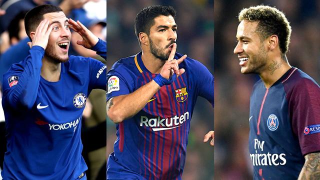 Hazard, Suarez, Neymar… Votez pour le meilleur joueur d'Europe du mois de janvier