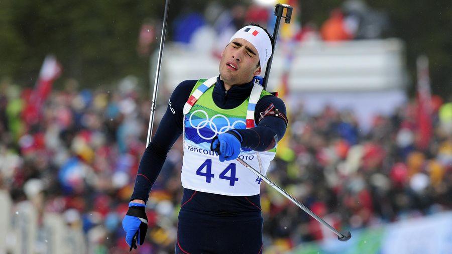 La déception de Martin Fourcade lors du sprint de Vancouver en 2010. 068fb989c2ad