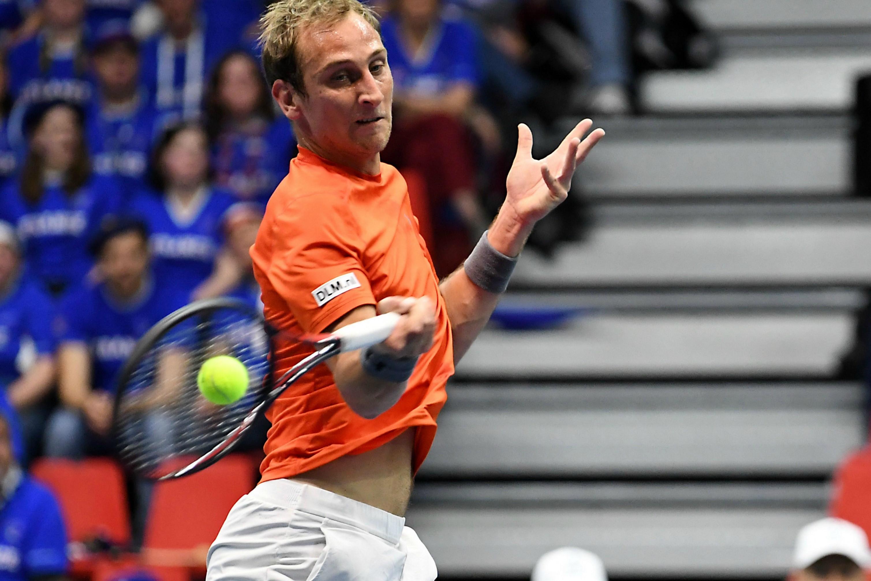 Thiemo de Bakker lors de France - Pays-Bas au 1er tour de la Coupe Davis 2018