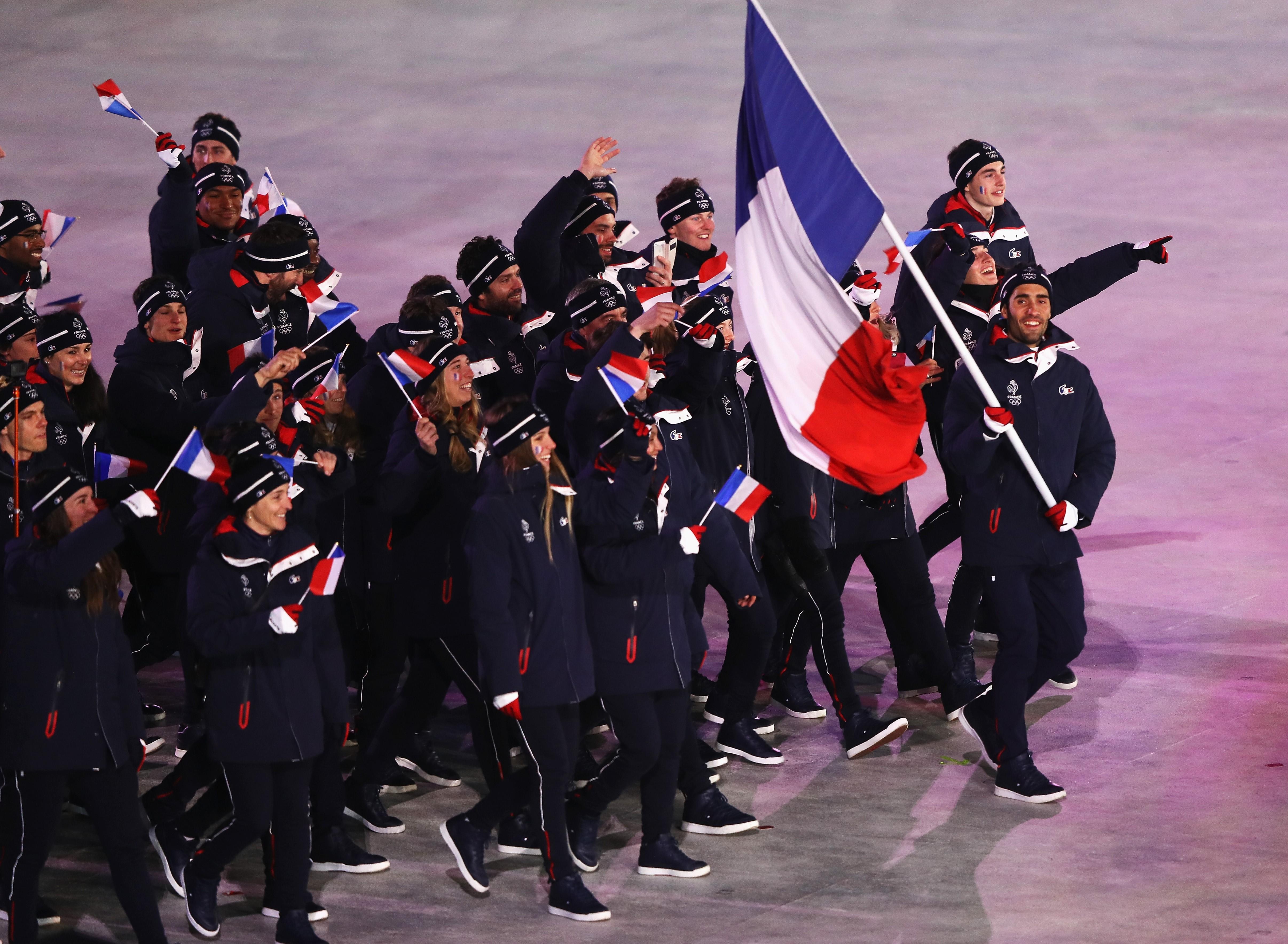 Martin Fourcade et la délégation française lors des JO de Pyeongchang