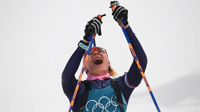 Дарья Домрачева выиграла серебряную медаль вмасс-старте